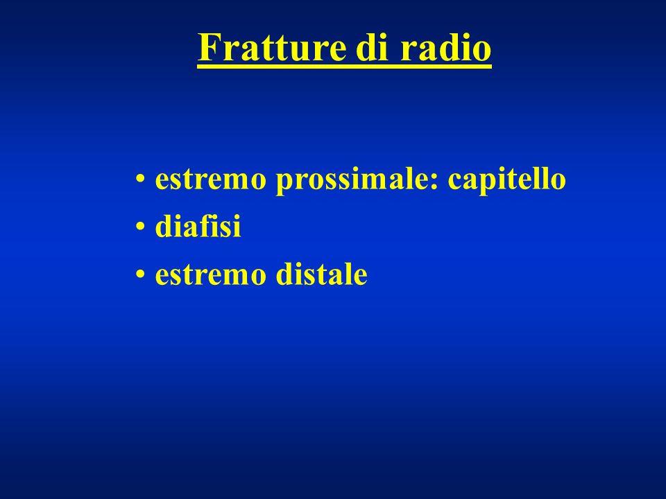 Fratture di radio estremo prossimale: capitello diafisi