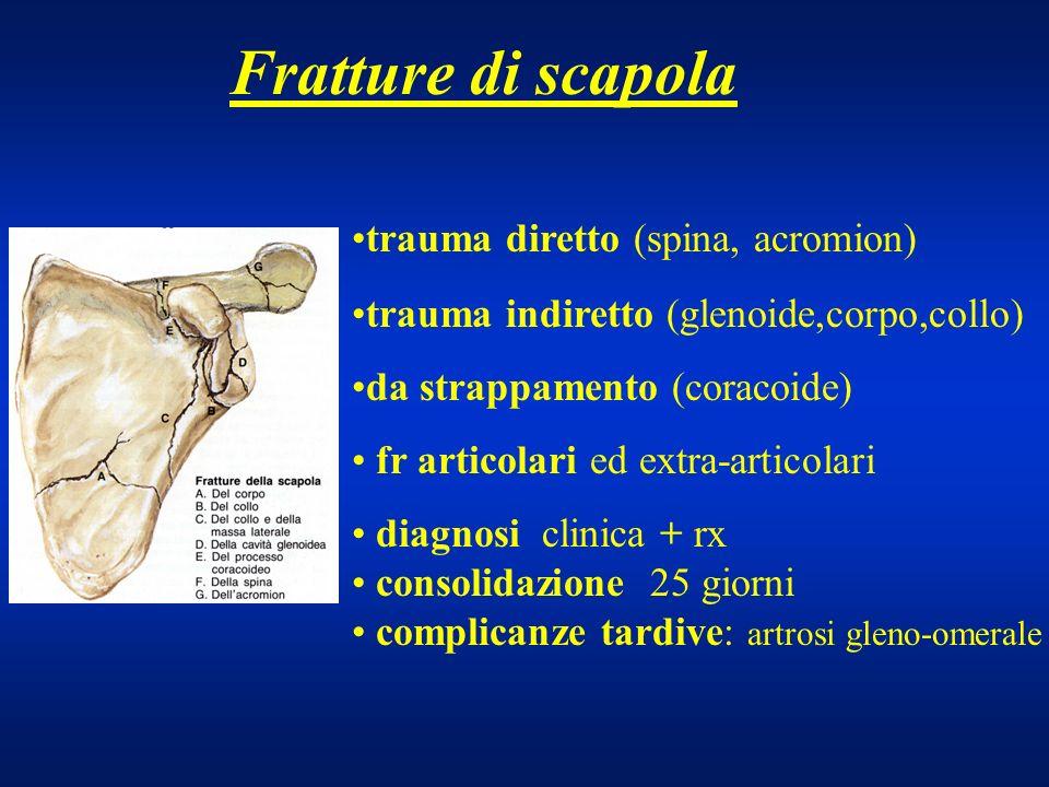 Fratture di scapola trauma diretto (spina, acromion)