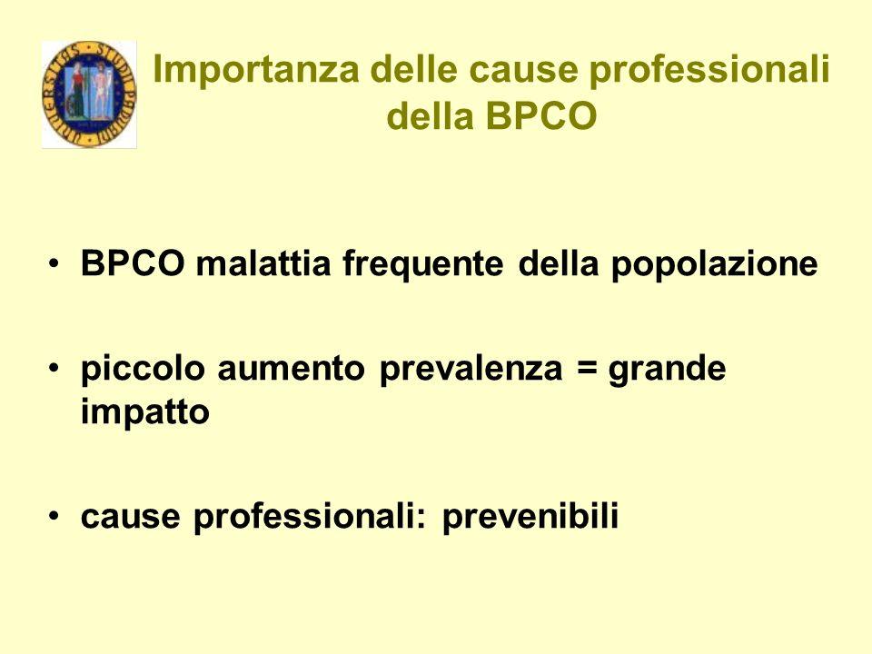 Importanza delle cause professionali della BPCO