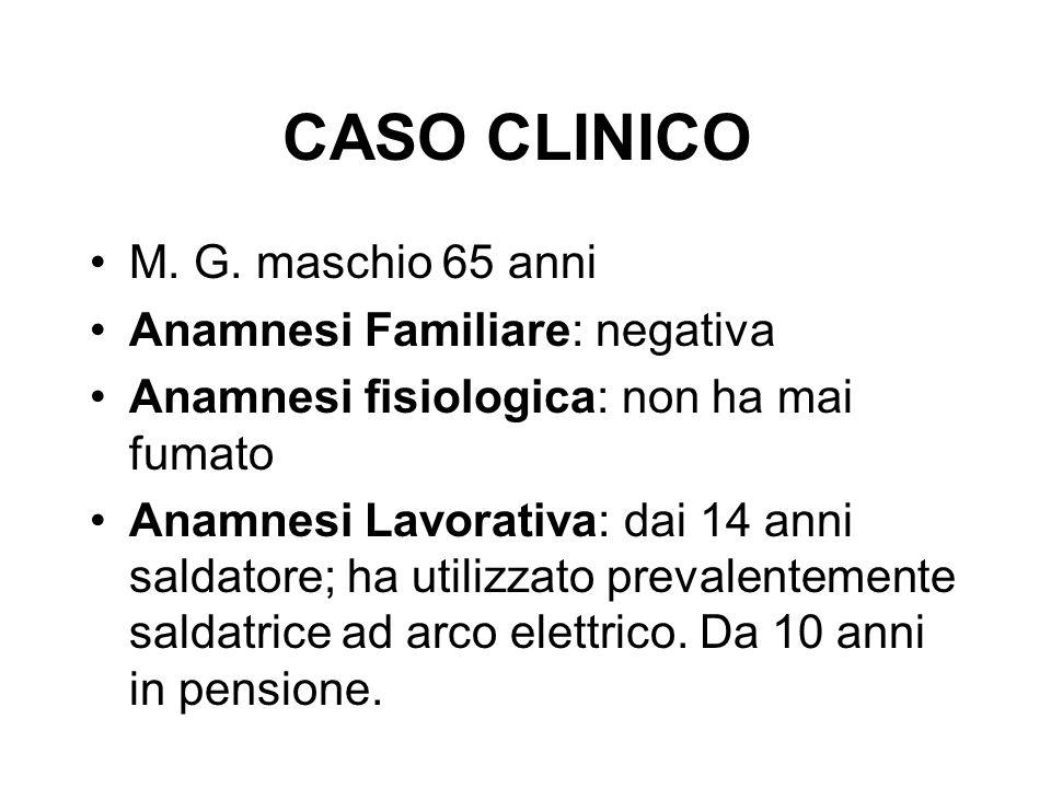 CASO CLINICO M. G. maschio 65 anni Anamnesi Familiare: negativa