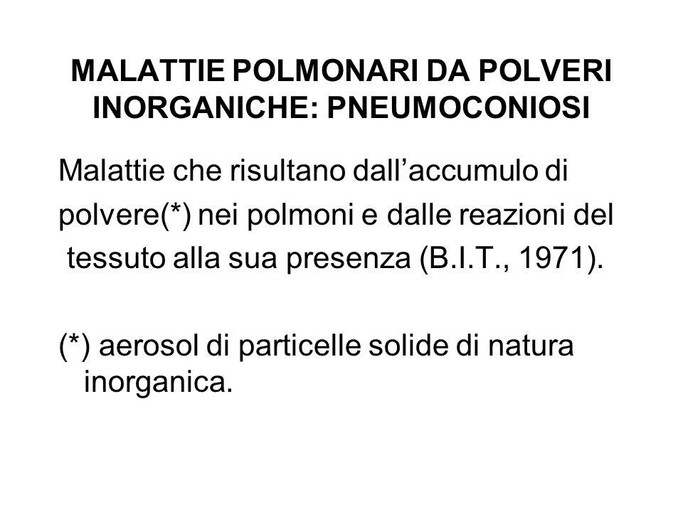 MALATTIE POLMONARI DA POLVERI INORGANICHE: PNEUMOCONIOSI