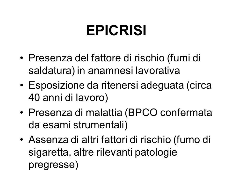 EPICRISI Presenza del fattore di rischio (fumi di saldatura) in anamnesi lavorativa. Esposizione da ritenersi adeguata (circa 40 anni di lavoro)