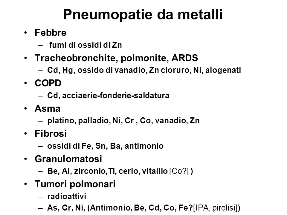 Pneumopatie da metalli