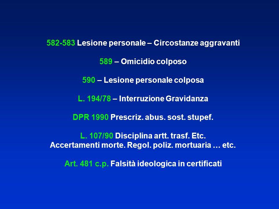 582-583 Lesione personale – Circostanze aggravanti