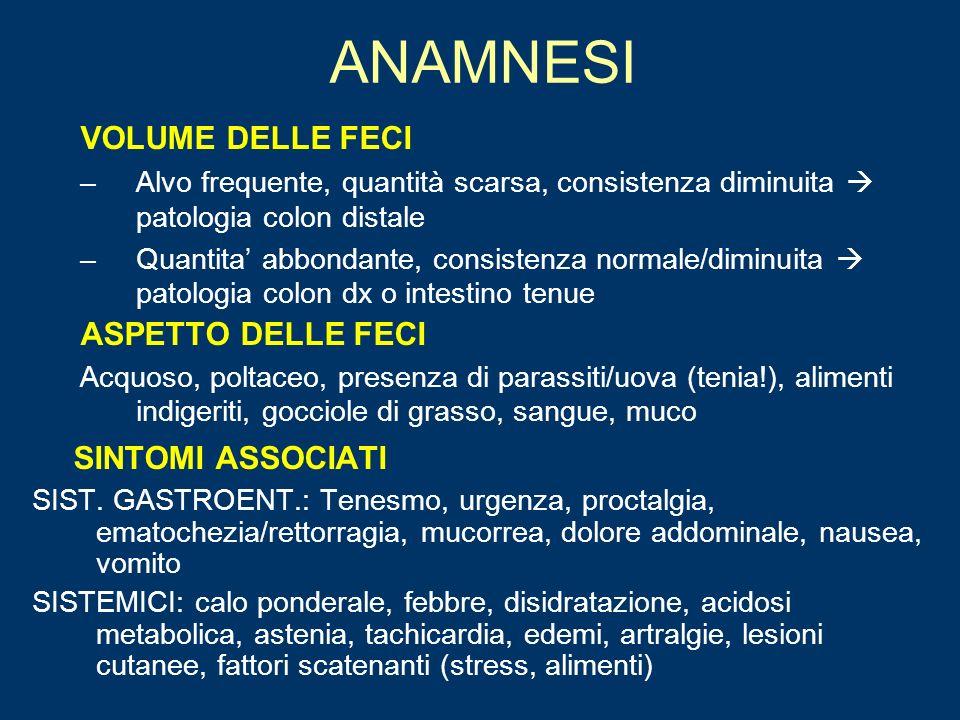 ANAMNESI SINTOMI ASSOCIATI VOLUME DELLE FECI ASPETTO DELLE FECI