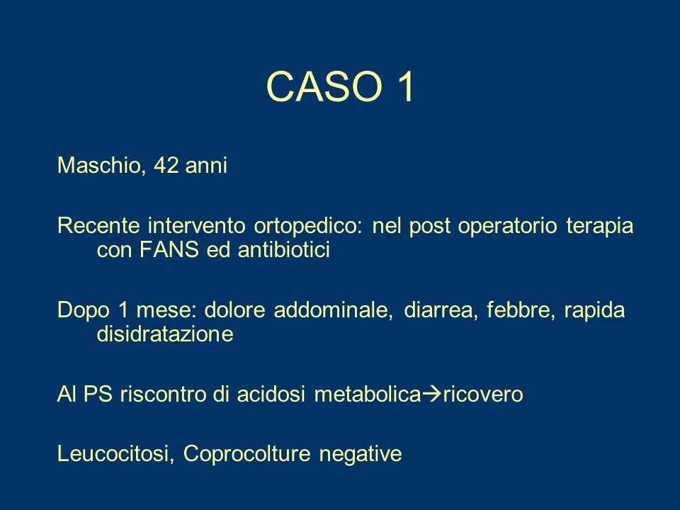 CASO 1 Maschio, 42 anni. Recente intervento ortopedico: nel post operatorio terapia con FANS ed antibiotici.