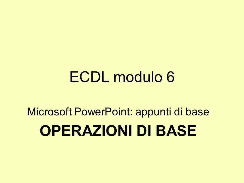 Microsoft PowerPoint: appunti di base OPERAZIONI DI BASE