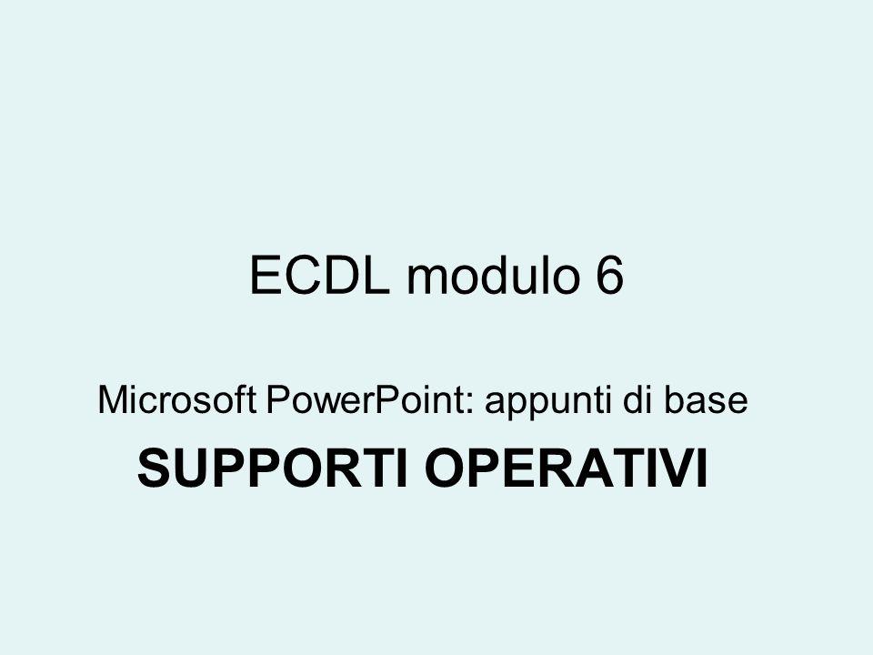 Microsoft PowerPoint: appunti di base SUPPORTI OPERATIVI
