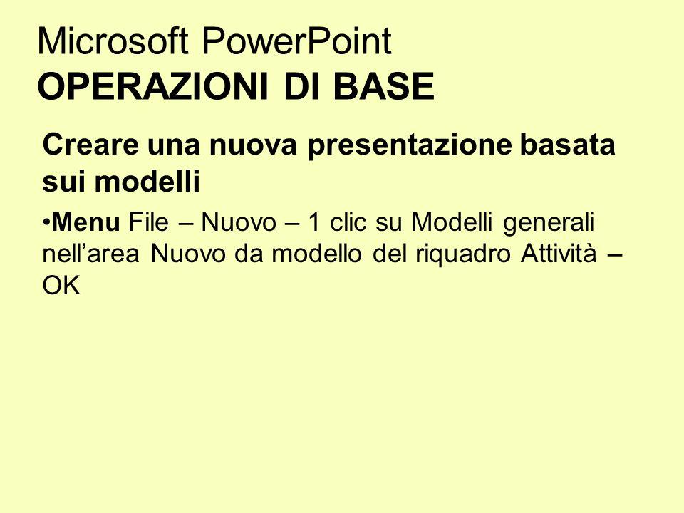 Microsoft PowerPoint OPERAZIONI DI BASE