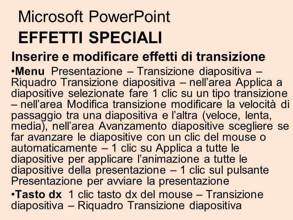 Microsoft PowerPoint EFFETTI SPECIALI