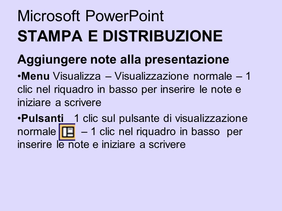 Microsoft PowerPoint STAMPA E DISTRIBUZIONE