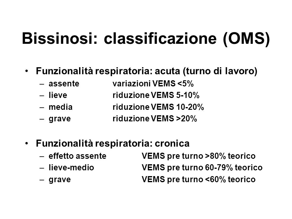 Bissinosi: classificazione (OMS)