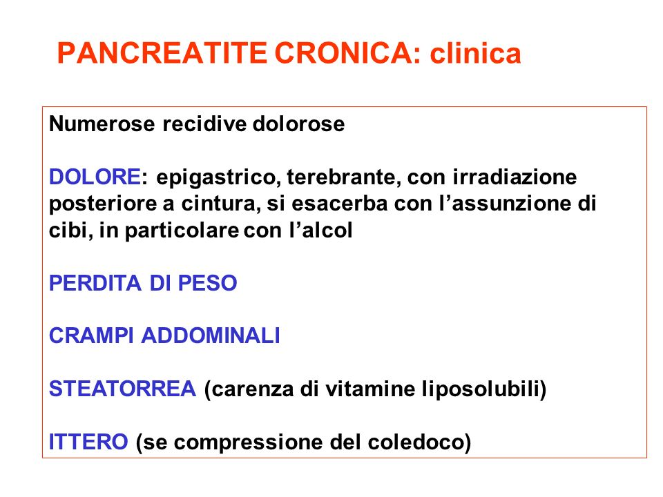PANCREATITE CRONICA: clinica