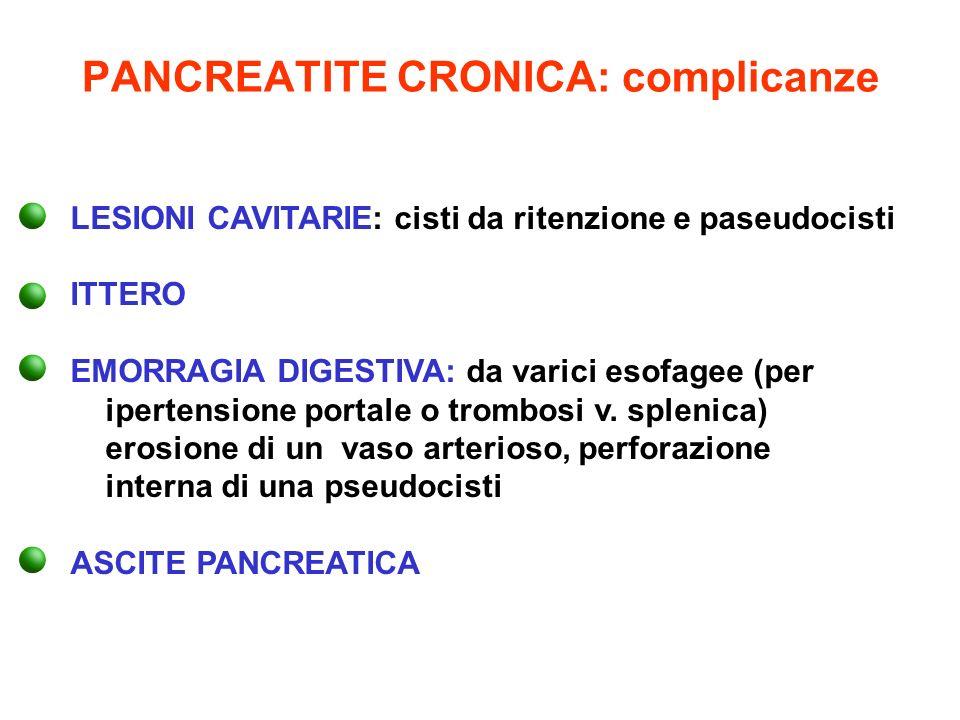 PANCREATITE CRONICA: complicanze