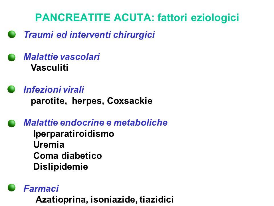PANCREATITE ACUTA: fattori eziologici