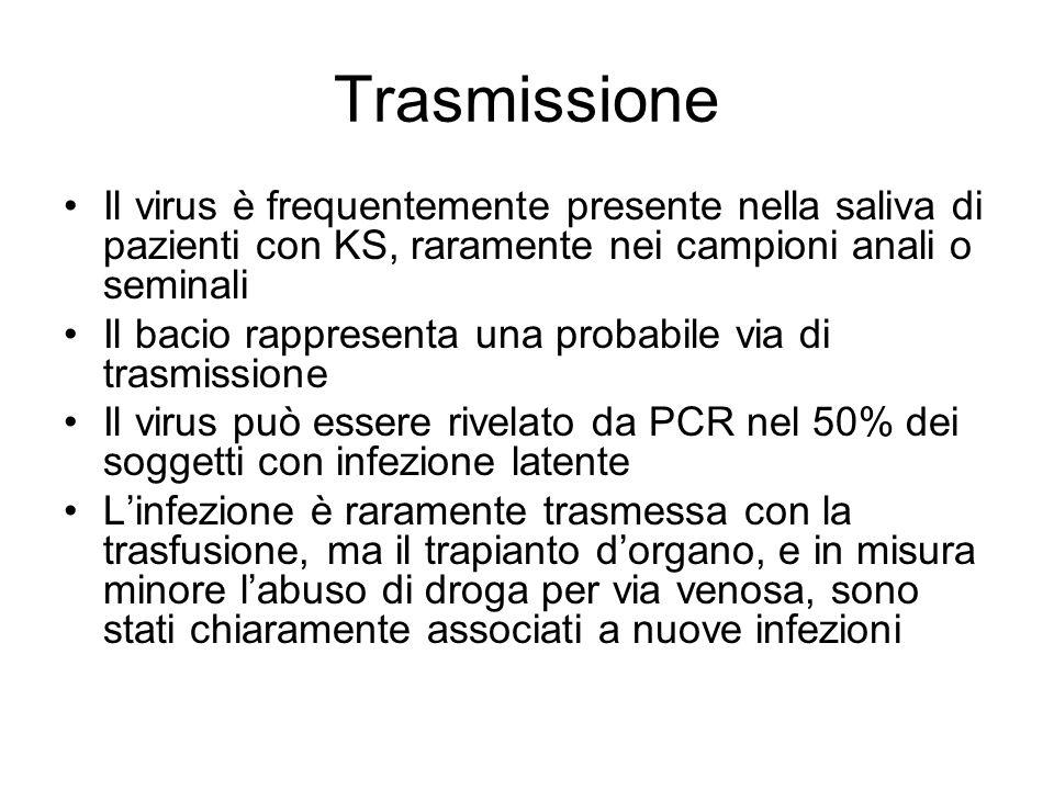 Trasmissione Il virus è frequentemente presente nella saliva di pazienti con KS, raramente nei campioni anali o seminali.