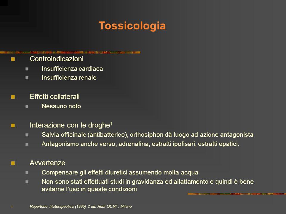 Tossicologia Controindicazioni Effetti collaterali