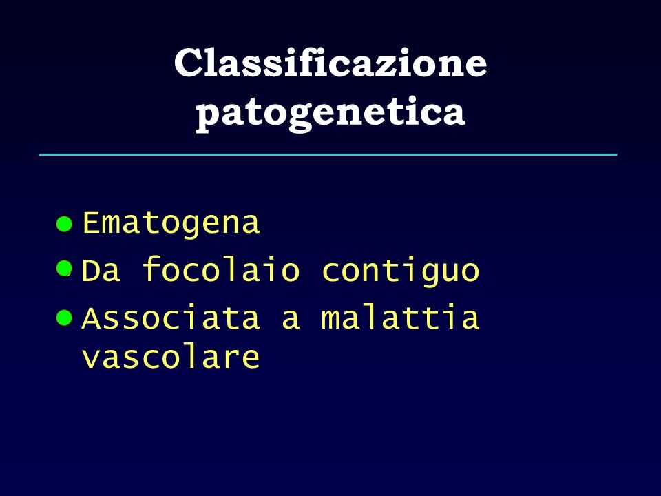 Classificazione patogenetica