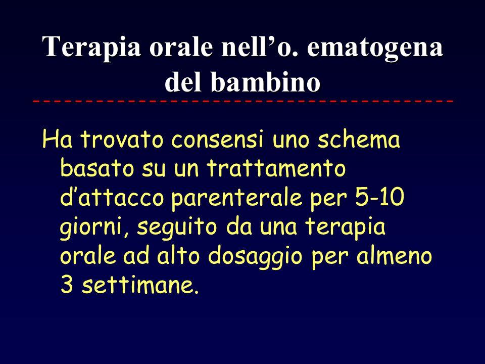 Terapia orale nell'o. ematogena del bambino