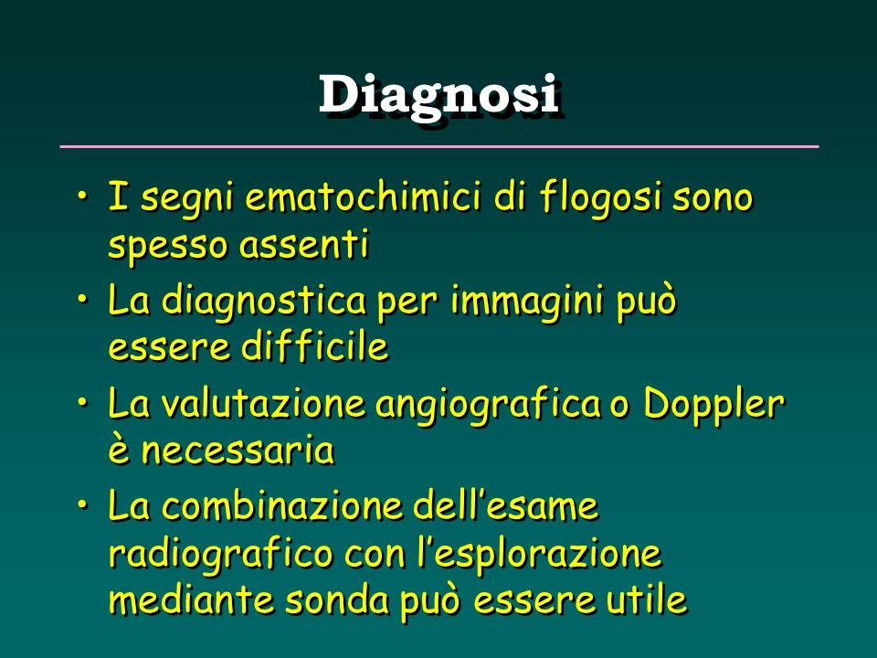 Diagnosi I segni ematochimici di flogosi sono spesso assenti