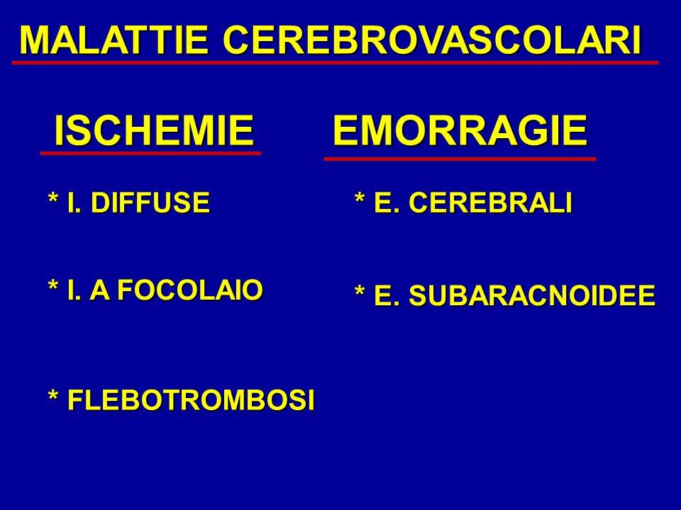 ISCHEMIE EMORRAGIE MALATTIE CEREBROVASCOLARI * I. DIFFUSE