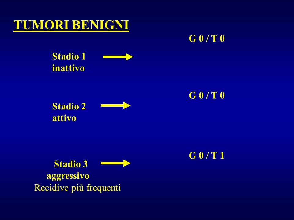 TUMORI BENIGNI G 0 / T 0 Stadio 1 inattivo G 0 / T 0 Stadio 2 attivo