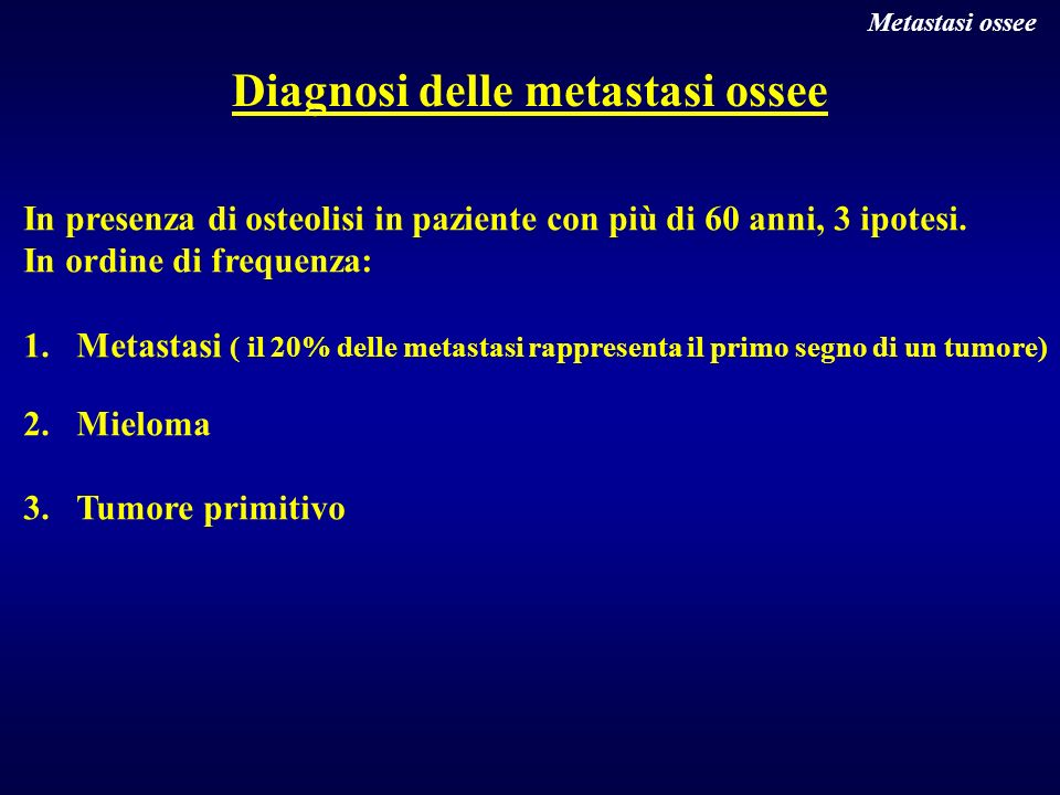 Diagnosi delle metastasi ossee