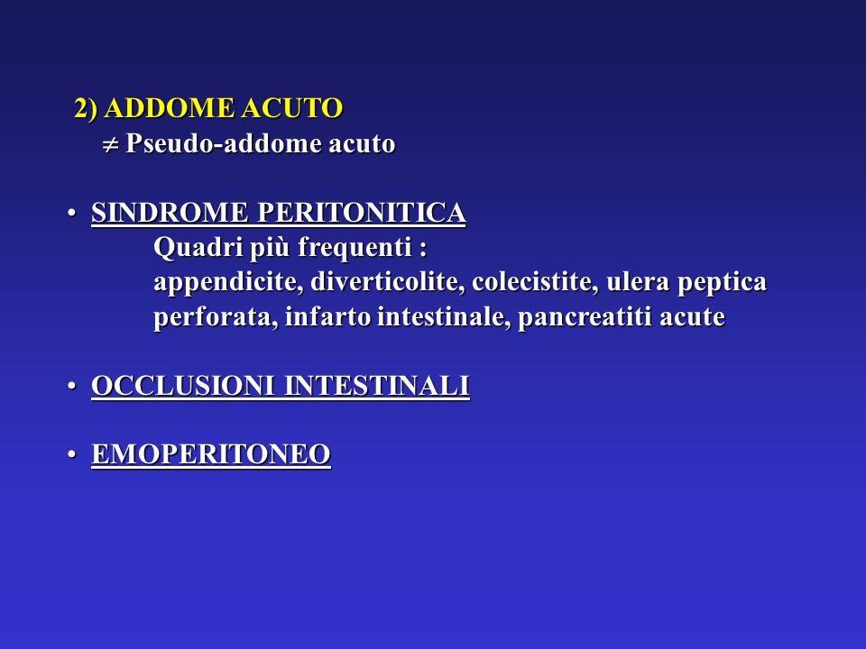 2) ADDOME ACUTO Pseudo-addome acuto. SINDROME PERITONITICA. Quadri più frequenti :