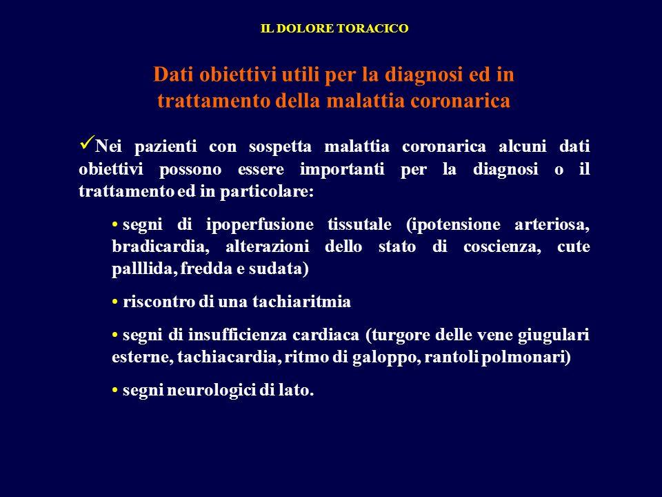 IL DOLORE TORACICO Dati obiettivi utili per la diagnosi ed in trattamento della malattia coronarica.