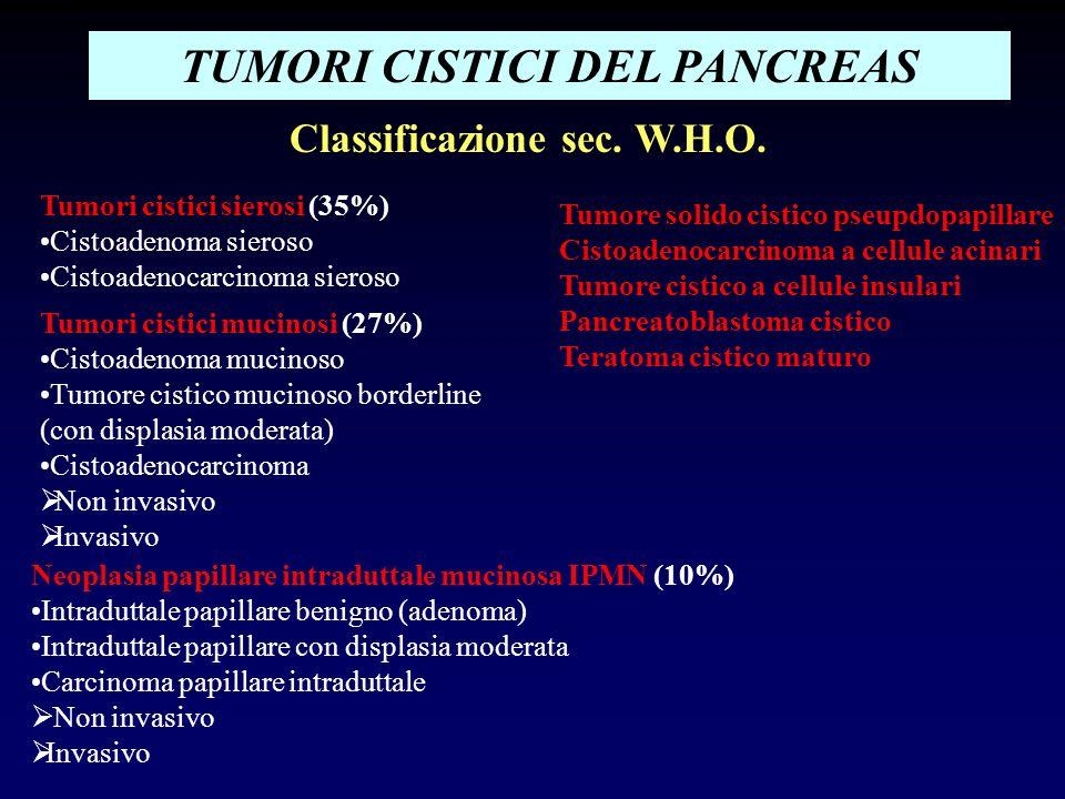 TUMORI CISTICI DEL PANCREAS Classificazione sec. W.H.O.