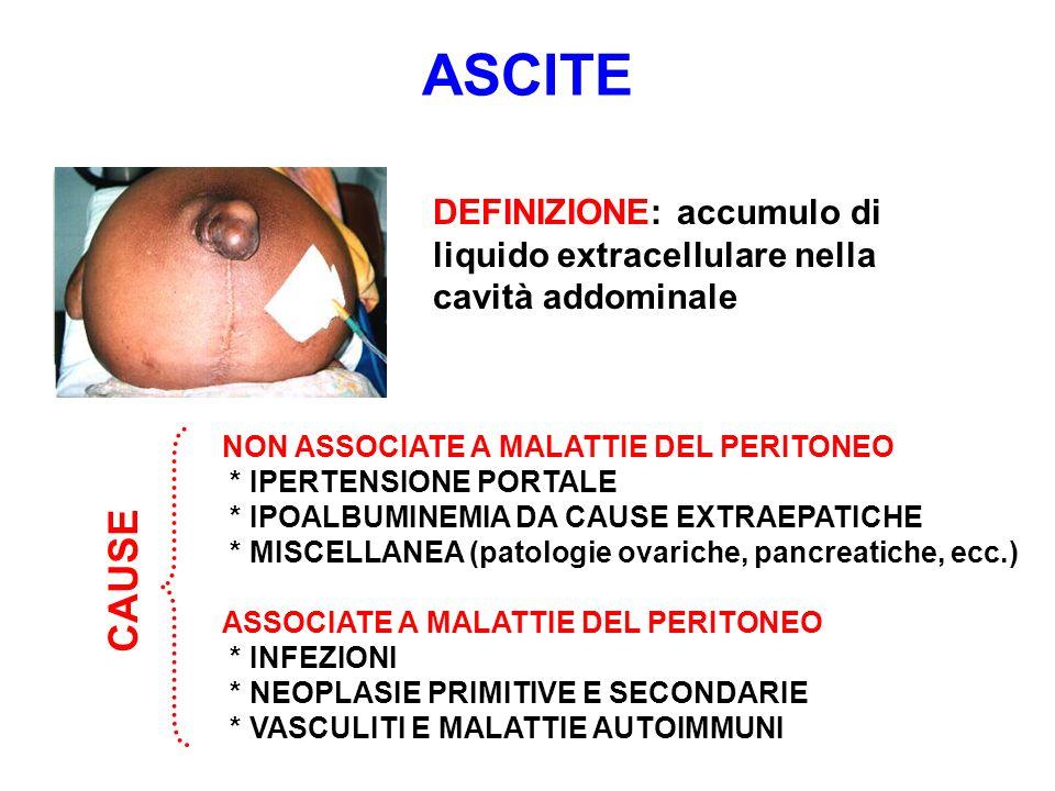 ASCITE DEFINIZIONE: accumulo di liquido extracellulare nella cavità addominale. NON ASSOCIATE A MALATTIE DEL PERITONEO.