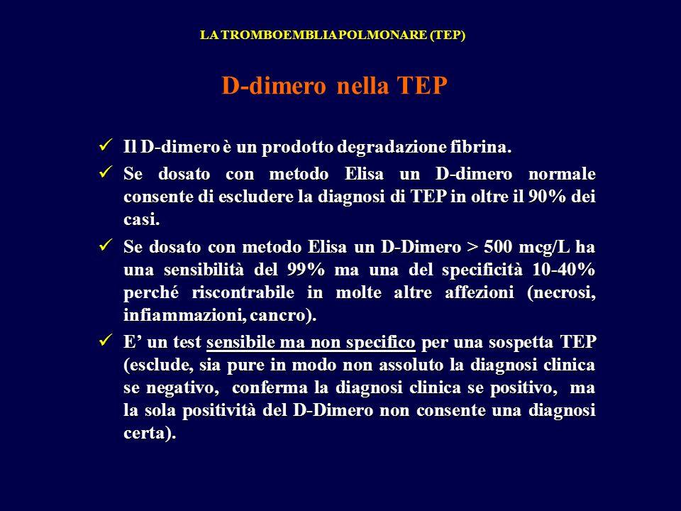 D-dimero nella TEP Il D-dimero è un prodotto degradazione fibrina.