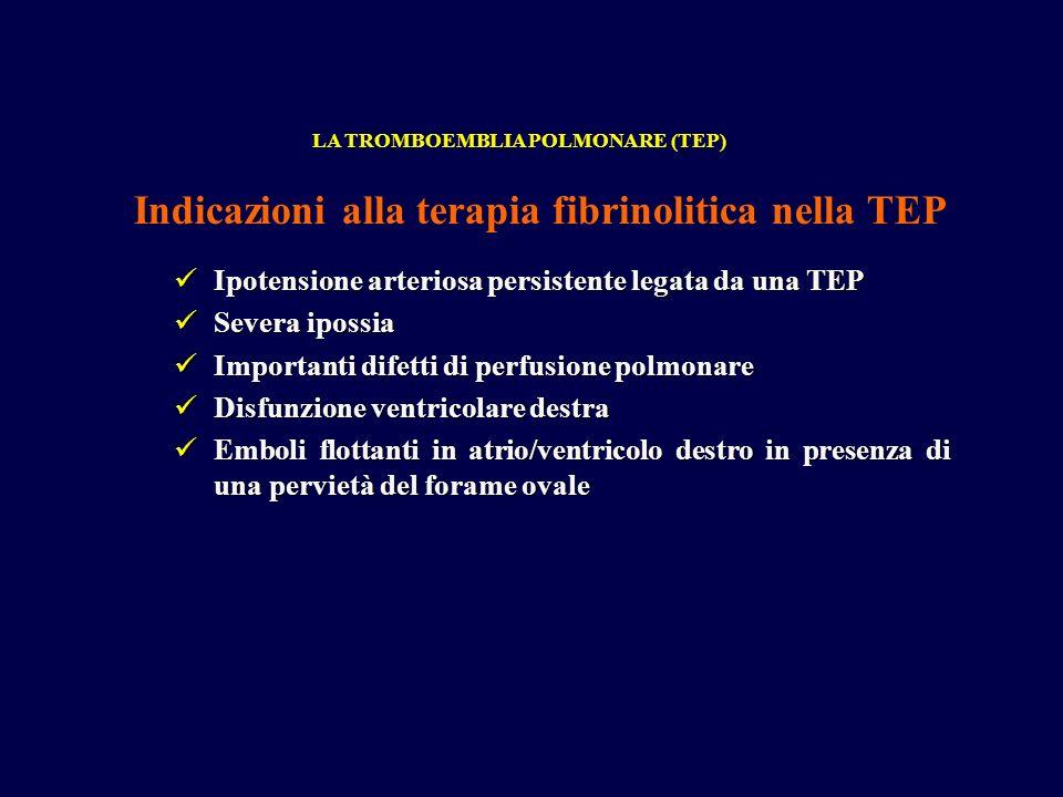 Indicazioni alla terapia fibrinolitica nella TEP