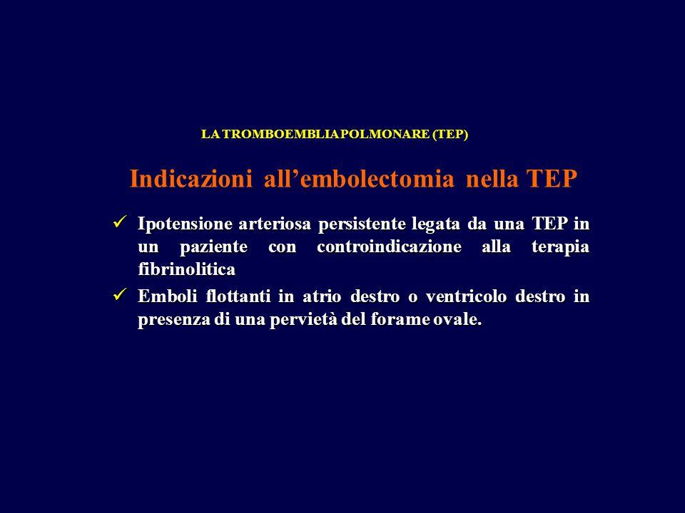 Indicazioni all'embolectomia nella TEP