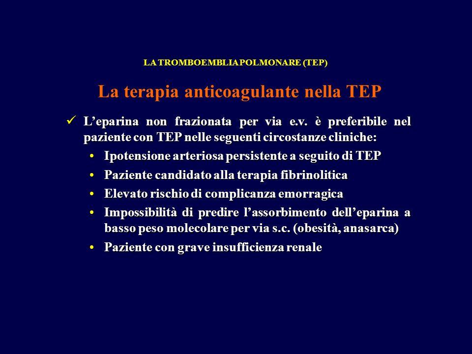 La terapia anticoagulante nella TEP