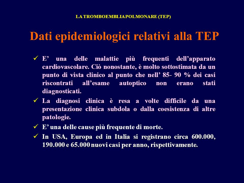 Dati epidemiologici relativi alla TEP