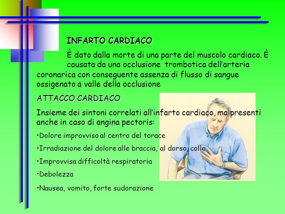 INFARTO CARDIACO È dato dalla morte di una parte del muscolo cardiaco. È causata da una occlusione trombotica dell'arteria.