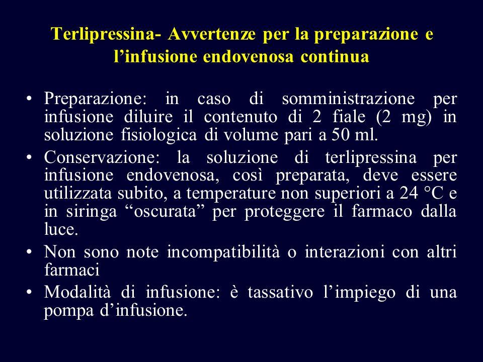 Terlipressina- Avvertenze per la preparazione e l'infusione endovenosa continua