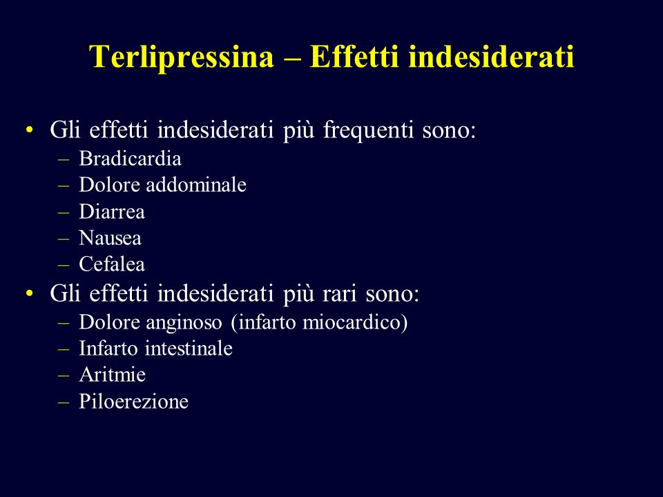 Terlipressina – Effetti indesiderati