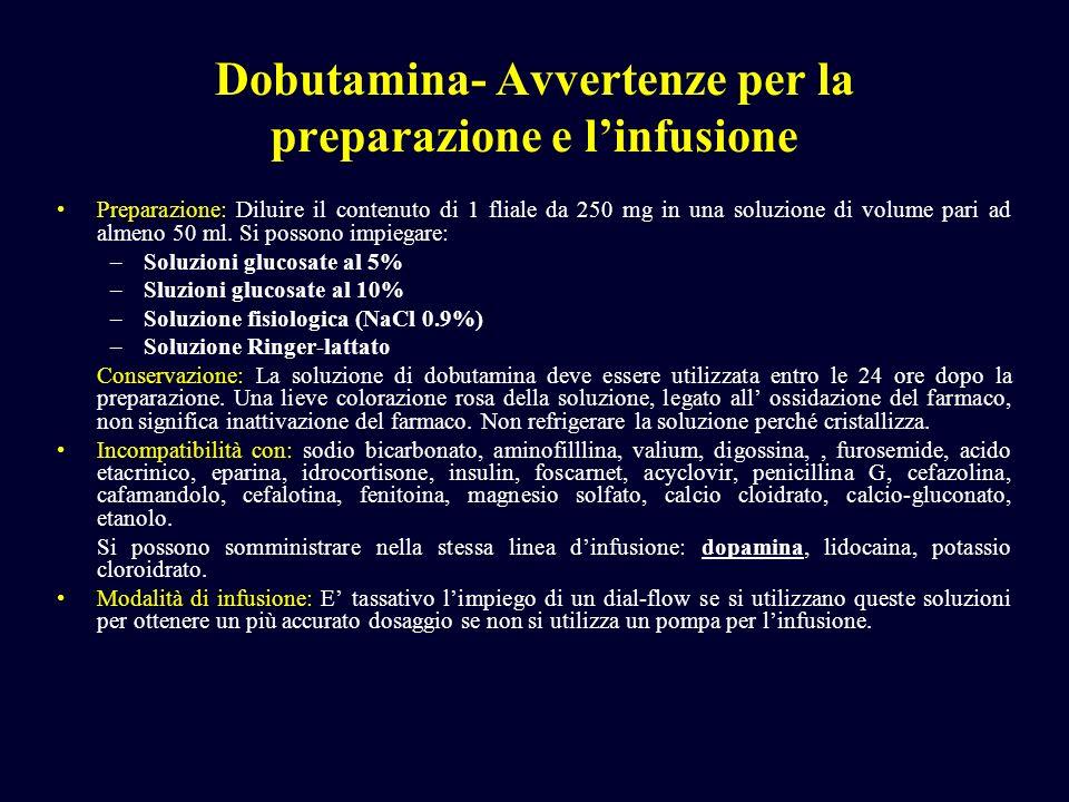 Dobutamina- Avvertenze per la preparazione e l'infusione