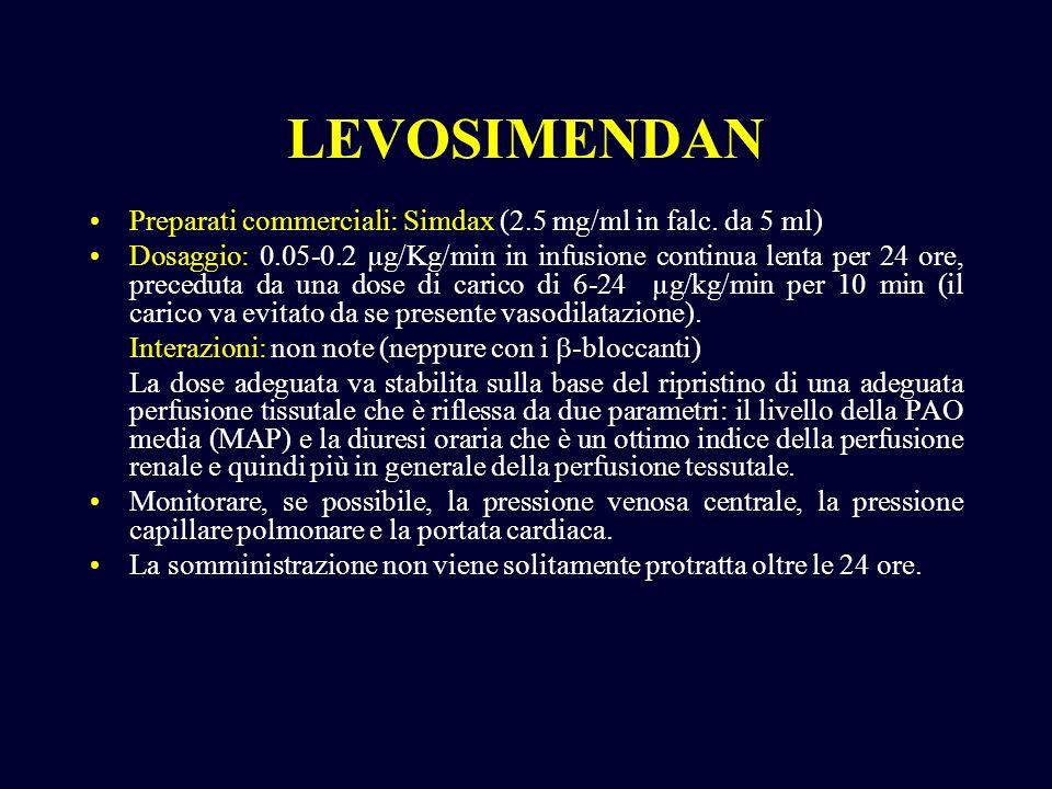 LEVOSIMENDANPreparati commerciali: Simdax (2.5 mg/ml in falc. da 5 ml)