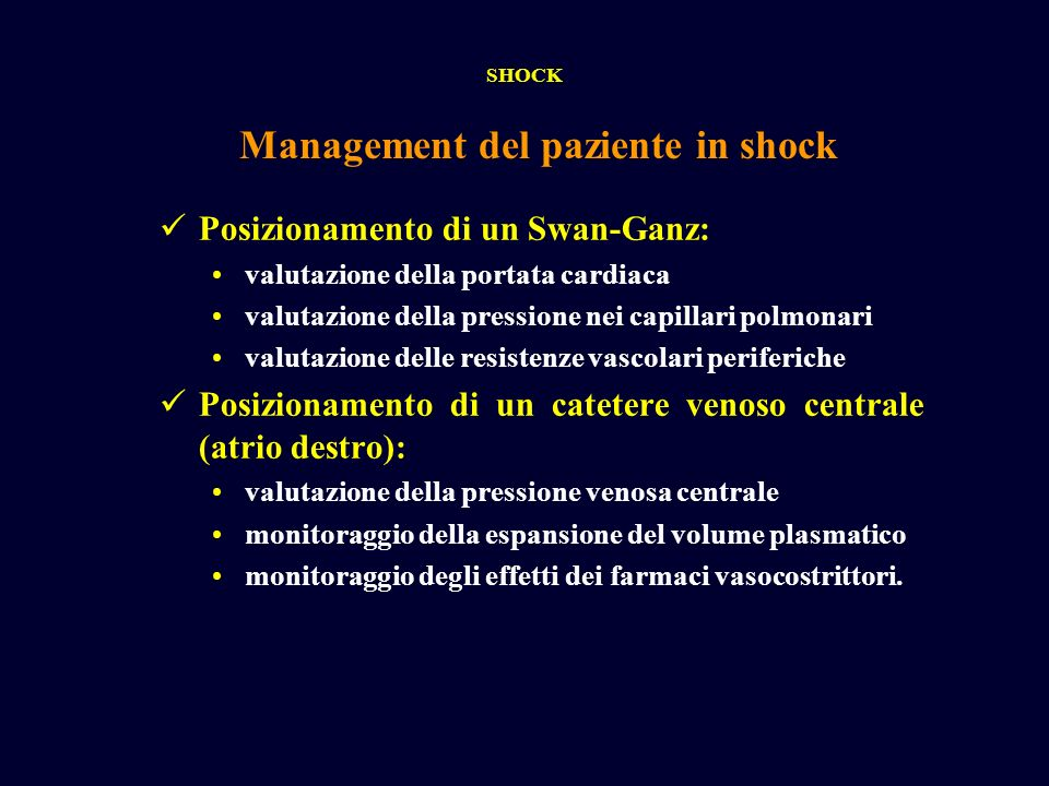Management del paziente in shock
