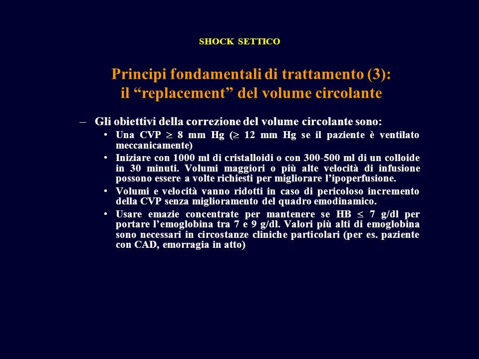 SHOCK SETTICO Principi fondamentali di trattamento (3): il replacement del volume circolante.