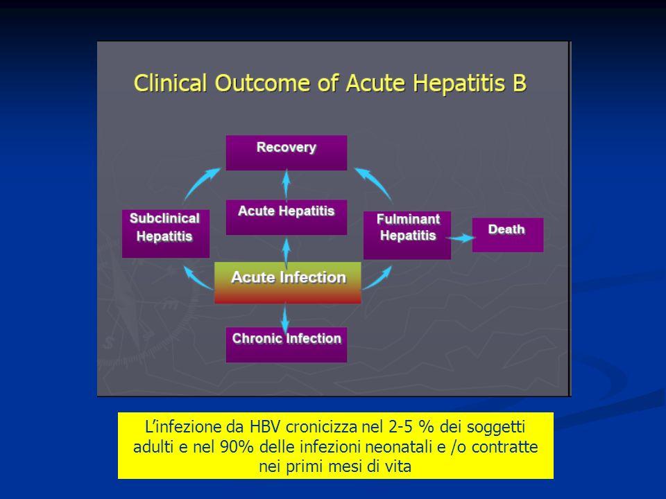 L'infezione da HBV cronicizza nel 2-5 % dei soggetti adulti e nel 90% delle infezioni neonatali e /o contratte nei primi mesi di vita