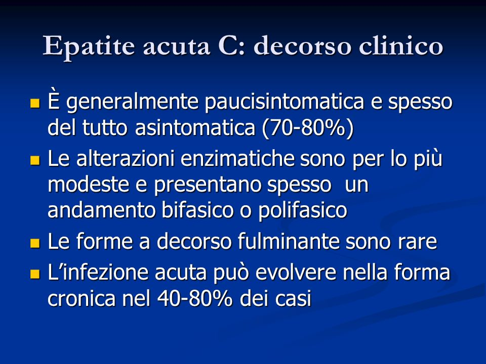 Epatite acuta C: decorso clinico