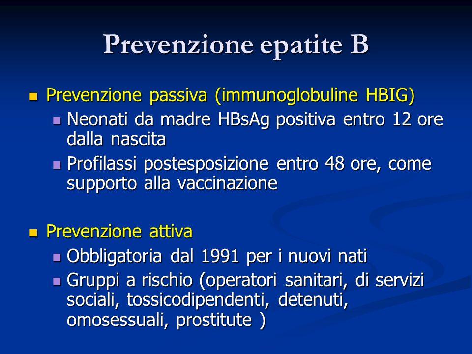 Prevenzione epatite B Prevenzione passiva (immunoglobuline HBIG)