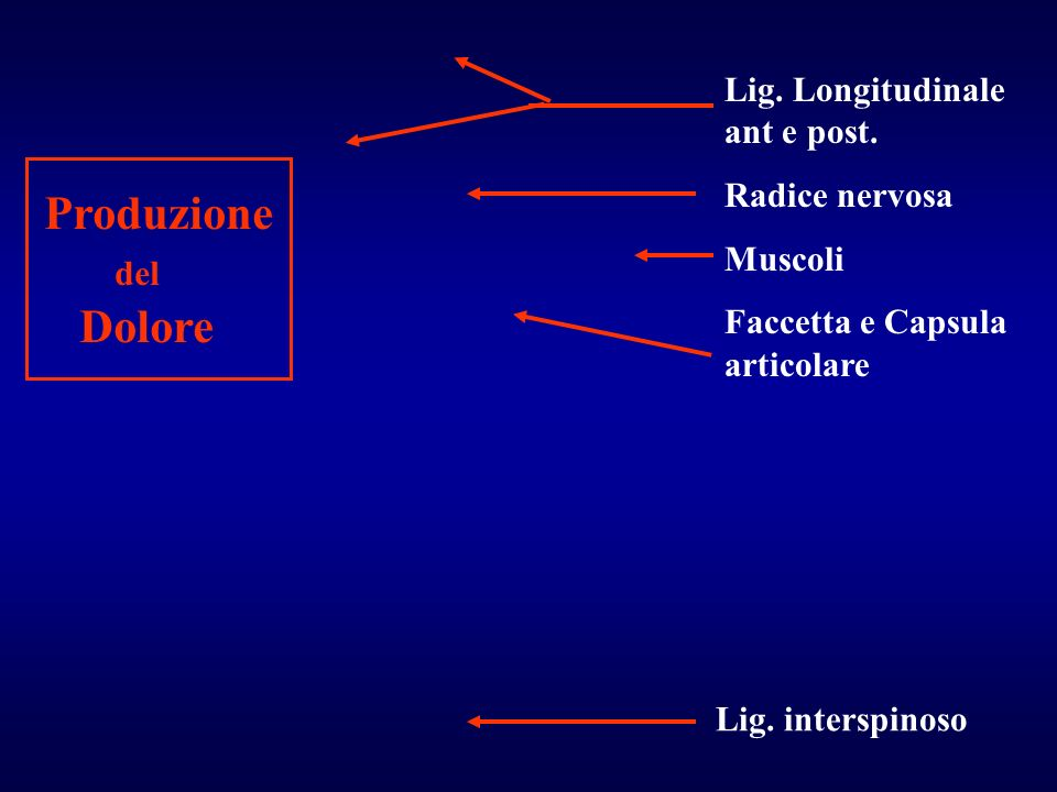 Produzione del Dolore Lig. Longitudinale ant e post. Radice nervosa
