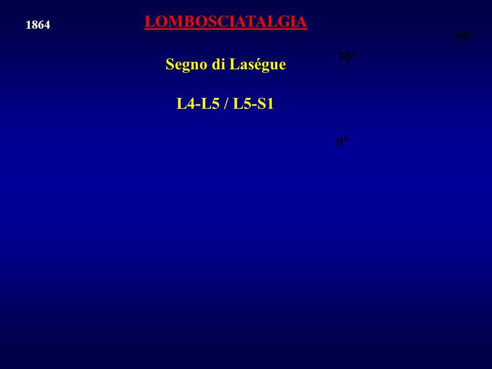 Segno di Laségue L4-L5 / L5-S1