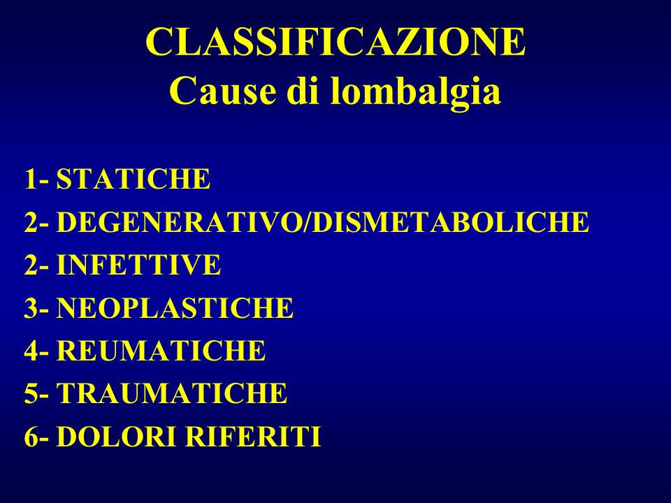 CLASSIFICAZIONE Cause di lombalgia