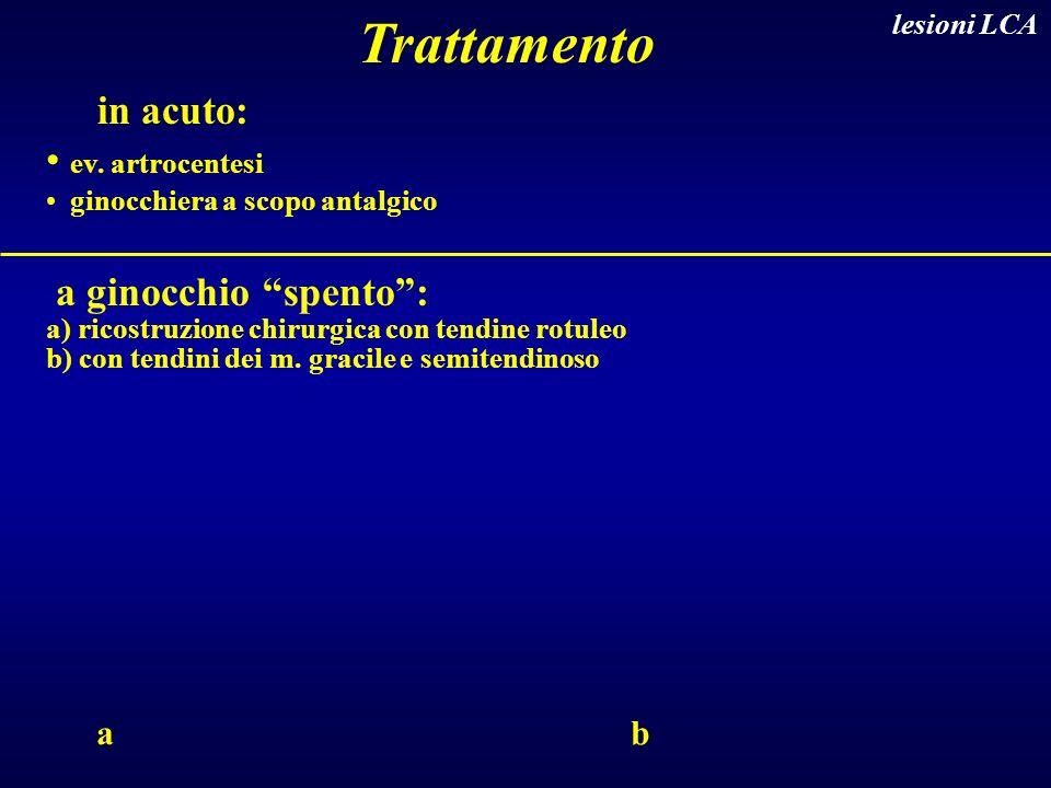 Trattamento in acuto: ev. artrocentesi a ginocchio spento : a b